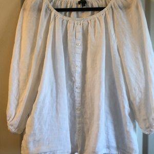 Talbots 3/4 sleeve linen blouse size XL